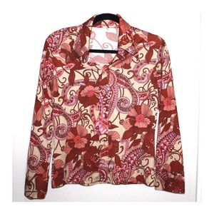 Vintage 70's Pointed Collar Trippy Floral Shirt